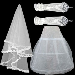 Low promotional price of high-end fashion bridal head veil gloves wedding dress beautiful custom fashion accessories