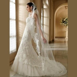Beautiful veil European market and the US market high-end fashion low price veil handmade custom bridal lace mesh meters