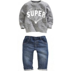 Promotional low price hot sales children's clothing boys Superman monogram inlaid diamond pattern sweater suit discount