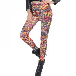 Europe station new comic style graffiti printing waist casual pants feet Slim Slim hit 79421