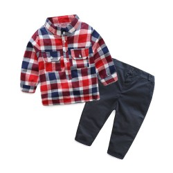 Promotional low price Spring and Autumn new models boys plaid shirt casual pants piece fitted Children discounts