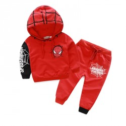 Fast delivery low price children's clothing boys cotton terry hooded Wieman pattern of red and black Spiderman suit