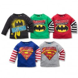 Kids hot sell boys loose sleeves superman pattern cartoon t-shirt low price discounts