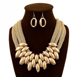Europe and the United States market popular fashion jewelry exaggerated gold tassels cotton cord necklace with jewelry suit