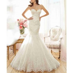 Bride spring new low price of high-end bridal lace sexy low-cut slim short tail fishtail wedding dress