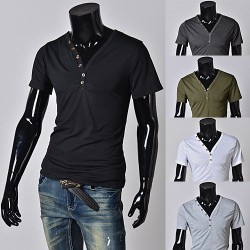 Low price discount hot fashion men's V-shaped neck Slim short-sleeved t-shirt