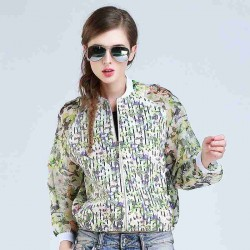 Spring and summer fashion all match printing stitching organza jacket
