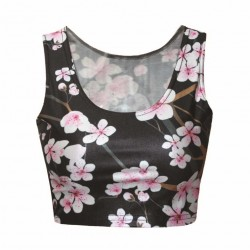 Europe and the US sales market hot pink plum blossom prints half breathable low-cut vest fitness sleeveless blouse