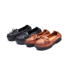 Single shoes new style shoes new young mother bow shoes luxury leather breathable casual shoes hot sales