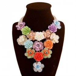 Europe and the United States market popular cotton rope knitted flower shape accessories Ms. clavicle chain necklace jewelry low price discount