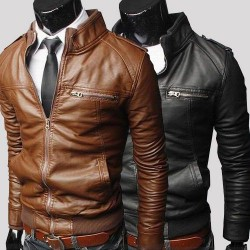 Horizontal zipper short style men's casual leather collar off short style easy.