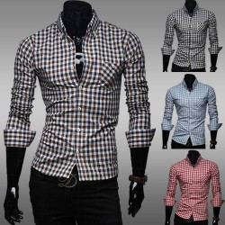 Classic plaid cotton casual demand low prices men cultivating long-sleeved shirt