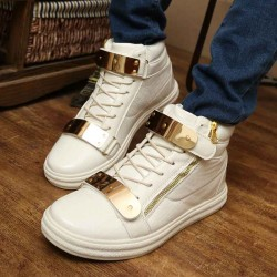 Fast shipping autumn and winter new style men's fashion casual shoes, high shoes in Europe and the US market metal shoe discounts