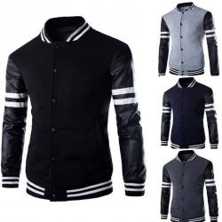 Autumn and winter low price discount new style men's leather sleeve stitching casual letters printed cardigan jacket