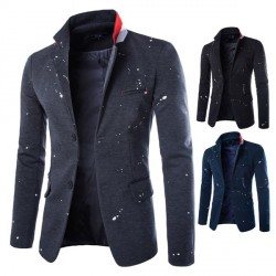 Autumn and winter low prices new ink type printing men's casual style button suit