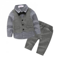 Boys handsome British style long-sleeved cotton denim vest a tie fast delivery Spring