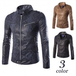 Low price new models in Europe and the United States market of imitation snakeskin style Slim Men motorcycle leather jacket