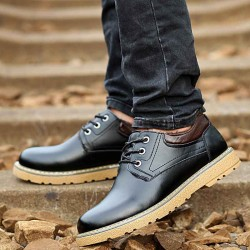 Promotional winter plus cotton shoes casual leather men's shoes toe layer of skin fast delivery