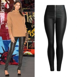 Autumn new models in Europe and the US market leather pants leggings PU leather material waist trousers tight leather pants big yards pants Ms.