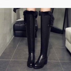 Low price fashion leather high-heeled boots rabbit hair lady crude material over knee boots with autumn and winter plus velvet high-top boots Knight
