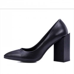 European stations spring new style rough with high-heeled leather shoes, ladies shoes in Europe and the US market fashion shoes pointed leather material