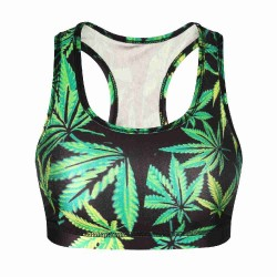 Low prices Star cannabis leaf print pattern running shockproof sports vest style Ms. no rims yoga vest tops women