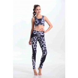 Low price Spring new style black and white leopard print digital quality Spring elastic indoor sports yoga clothing piece suit