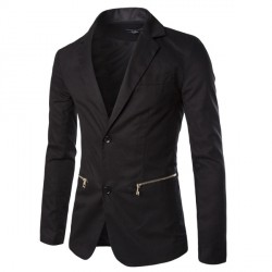 Decorative zipper pocket two button men's casual suit jacket