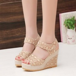 Shoes hollow breathable Velcro sandals summer wedge heel thick ultra high heel sandals Promotions