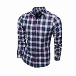 Low price selling men's casual European market and the US market fashion Scottish plaid long-sleeved shirt
