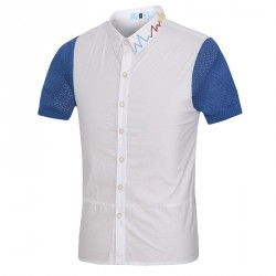 Hot new summer low price embroidery stitching men's personality Slim short-sleeved shirt