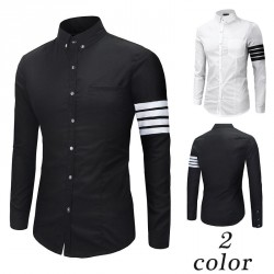New models fall and winter clothes men cultivating long-sleeved sleeve decorative ribbon shirt shirts