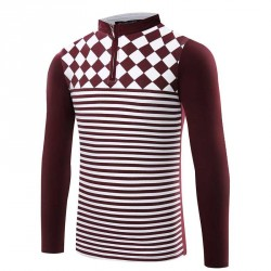 Low price fashion men's striped collar fitted long-sleeved t-shirt men's hollow low prices