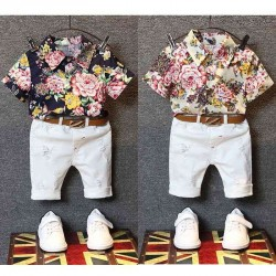 Fast delivery low price children's clothing boys summer short sleeve shirts casual fashion flower pattern Set discounts