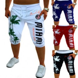 Low price selling men's dress shorts palm print design fashion casual pants