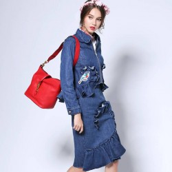 Autumn new models fashion Slim irregular sexy side slit style denim jacket package hip skirt suit