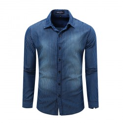High Quality Luxurious Men's Classic Long-Sleeve Denim Stripe Shirt
