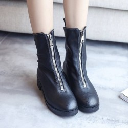Autumn new models thick black front zipper short boots flat high-top boots single motorcycle Miss Ma Dingxue