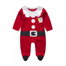 Boy Santa Claus pattern jumpsuit spring and autumn long-sleeved clothes and Siamese fast delivery low price long-sleeved clothing