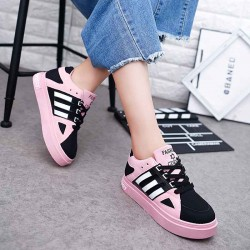 Autumn Shoes with thick shoes lady student new style running shoes matte casual shoes