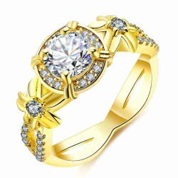 Europe and the US market selling gold flower diamond ladies ring