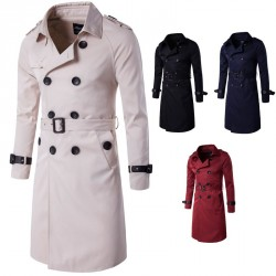Autumn low price boutique European markets and market models Slim long double-breasted coat US Men's Jacket