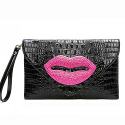 The new unique leather evening bags hand leather lips leather chain bag ladies shoulder oblique discounts