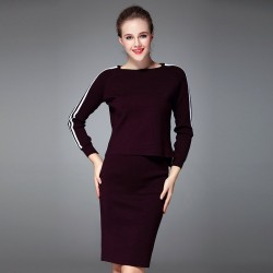 Autumn and winter new models in Europe and the US market to be vertical stripes long sweater short skirt package hip knit dress slit style
