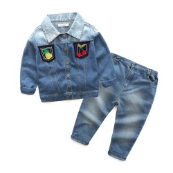 Low prices fast delivery boys and girls children's clothing autumn paragraph long-sleeved denim trousers fruit FIG boy suit
