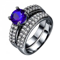 European and US markets lower price discount jewelry selling jewelry hot models double black dark blue diamond ring set
