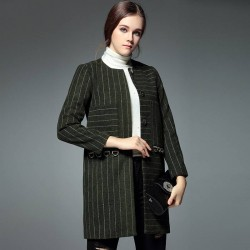 Autumn and winter new models in Europe and the US market fashion casual round neck striped chest large pocket overcoat it