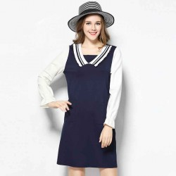 2017 spring new models large size women's figure partial fat lady hit color slim long-sleeved dress irregular cuff