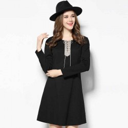 2017 spring new models in Europe and the US market large size women slim figure partial fat lady Slim small lace long-sleeved dress A pendulum