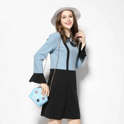 2017 spring new models in Europe and the US market large size women Ms. Slim irregular body fat bias cuffs long-sleeved dress two-piece sling